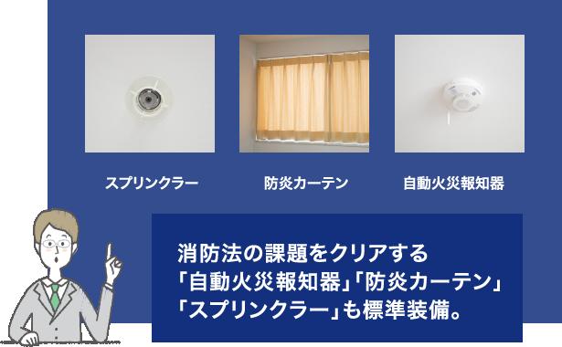 消防法の課題をクリアする「自動火災報知器」「防炎カーテン」「スプリンクラー」も標準装備。